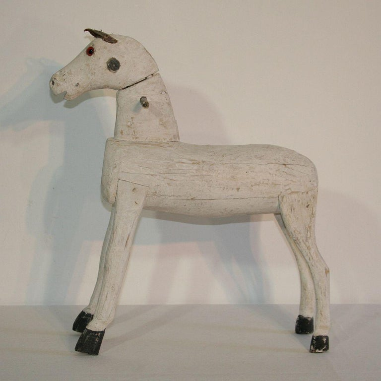 Couple of French 19th Century Painted Wooden Horses For Sale 11