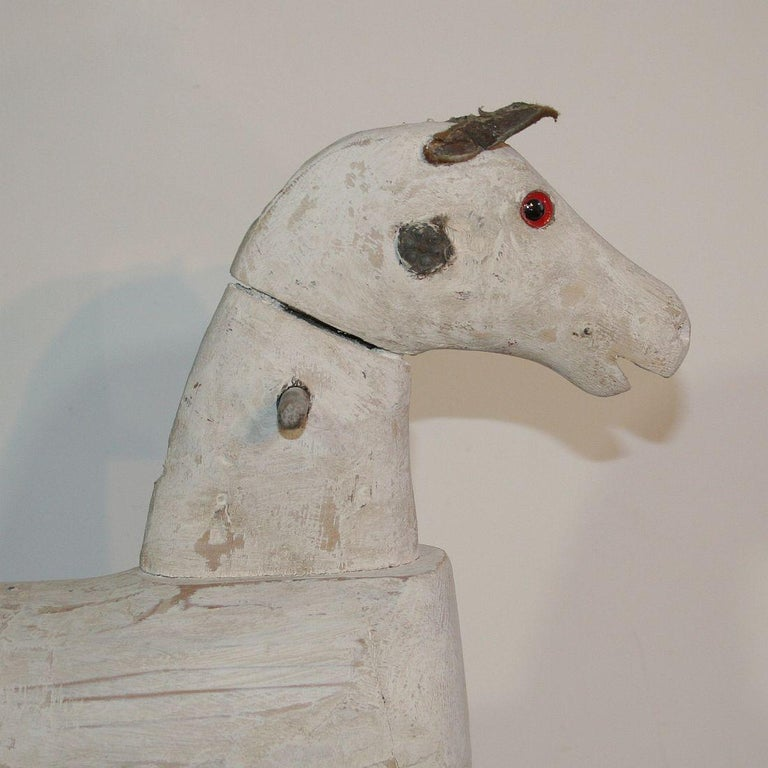 Couple of French 19th Century Painted Wooden Horses For Sale 14