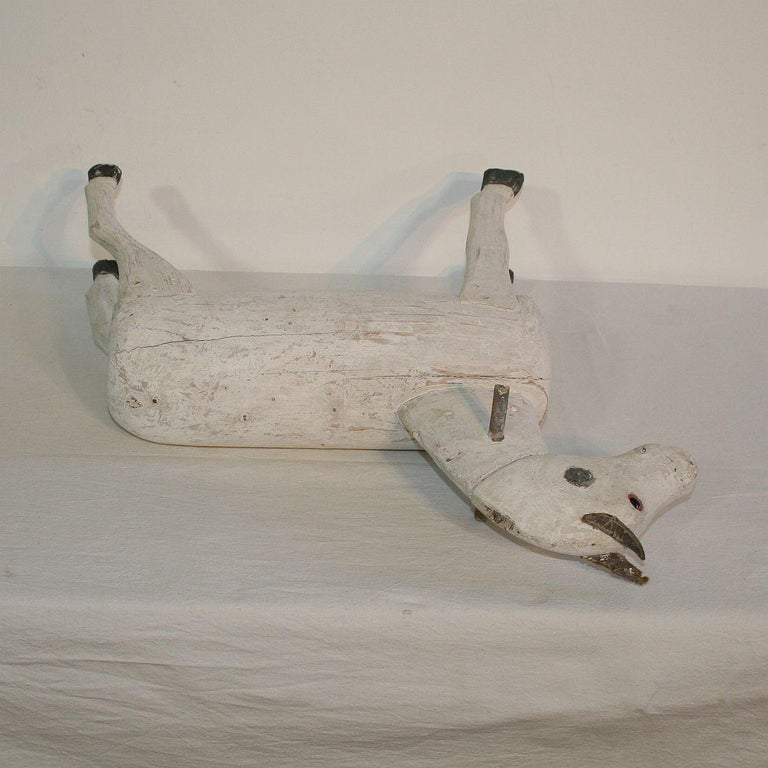 Couple of French 19th Century Painted Wooden Horses For Sale 16