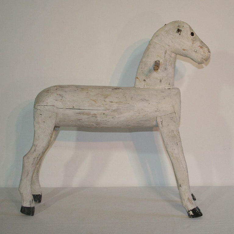 Folk Art Couple Of 19th Century French Painted Wooden Horses For Sale