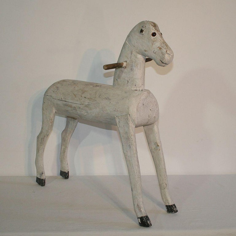 Couple of French 19th Century Painted Wooden Horses For Sale 1