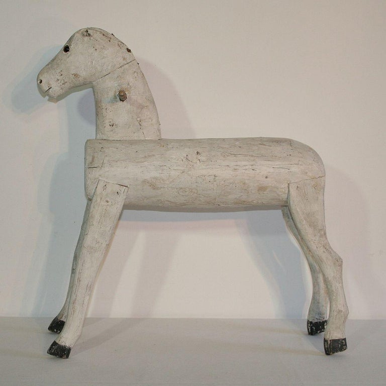 Couple of French 19th Century Painted Wooden Horses For Sale 2