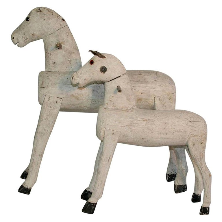 Couple of French 19th Century Painted Wooden Horses For Sale