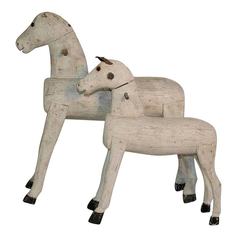 Couple Of 19th Century French Painted Wooden Horses For Sale