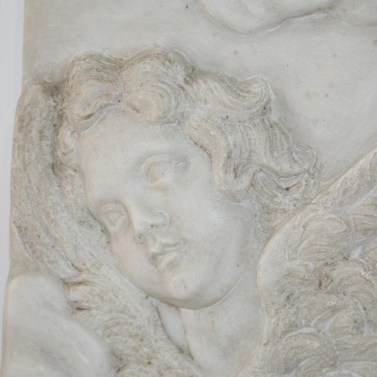 Couple of Italian 18th Century Baroque Marble Angel Panels For Sale 5