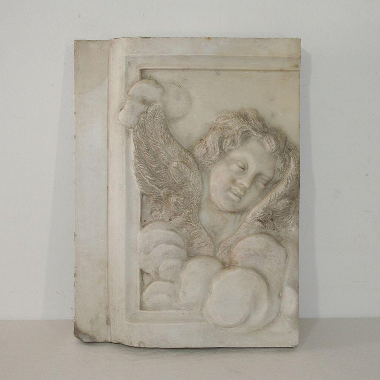 Couple of Italian 18th Century Baroque Marble Angel Panels For Sale 7