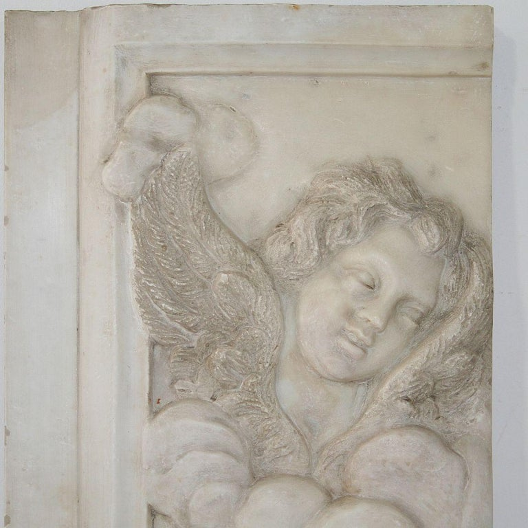 Couple of Italian 18th Century Baroque Marble Angel Panels For Sale 8