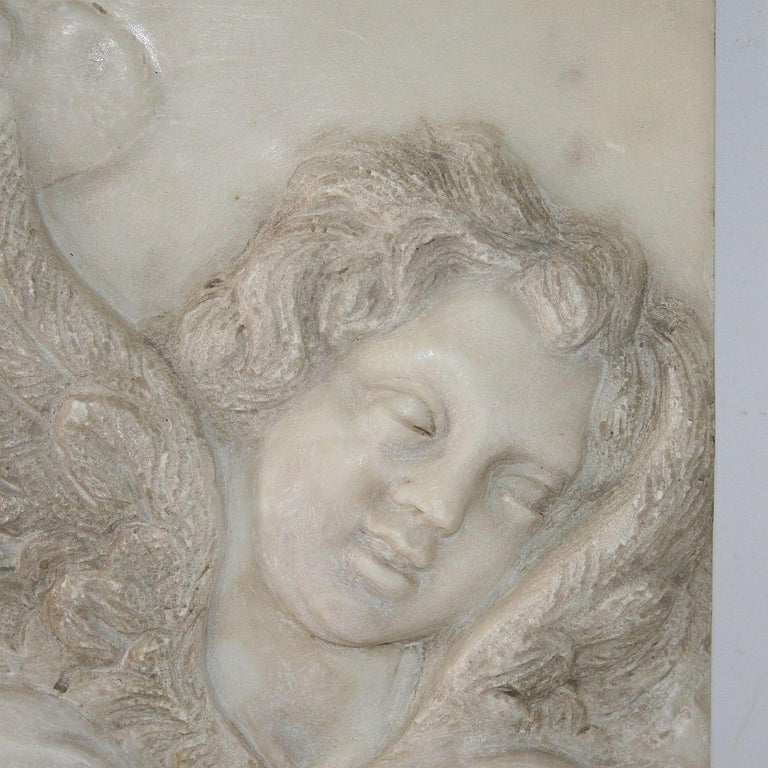 Couple of Italian 18th Century Baroque Marble Angel Panels For Sale 9