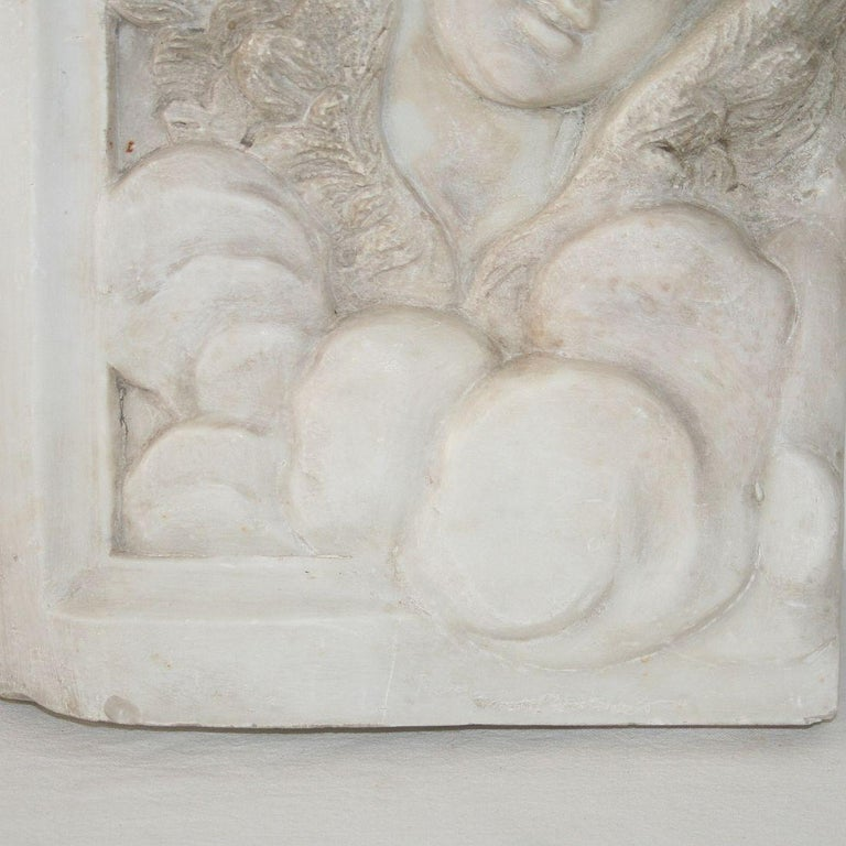 Couple of Italian 18th Century Baroque Marble Angel Panels For Sale 11