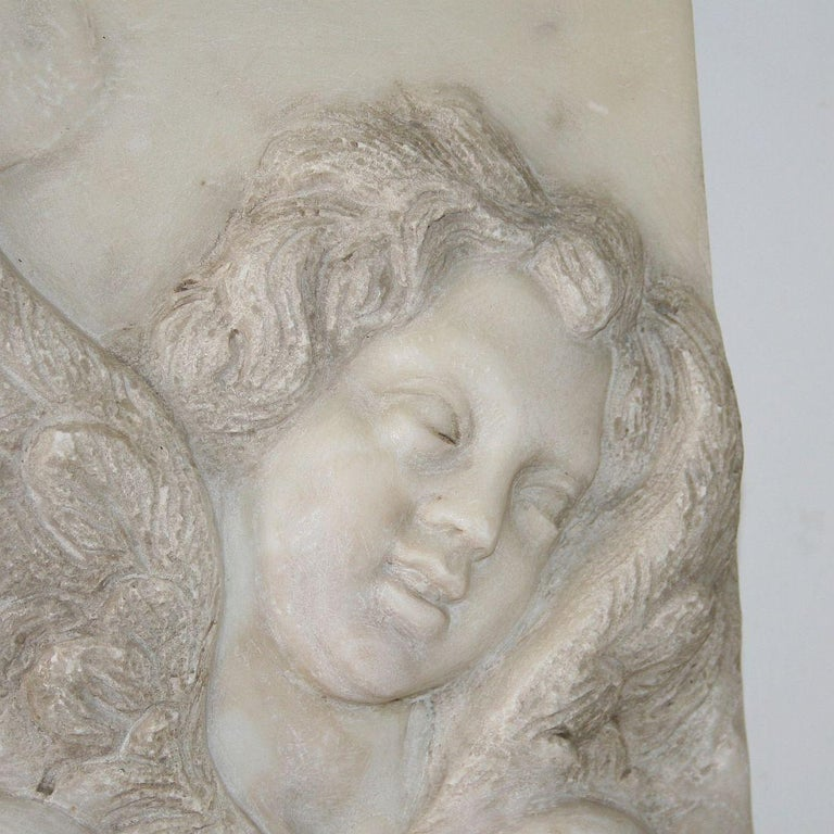 Couple of Italian 18th Century Baroque Marble Angel Panels For Sale 12