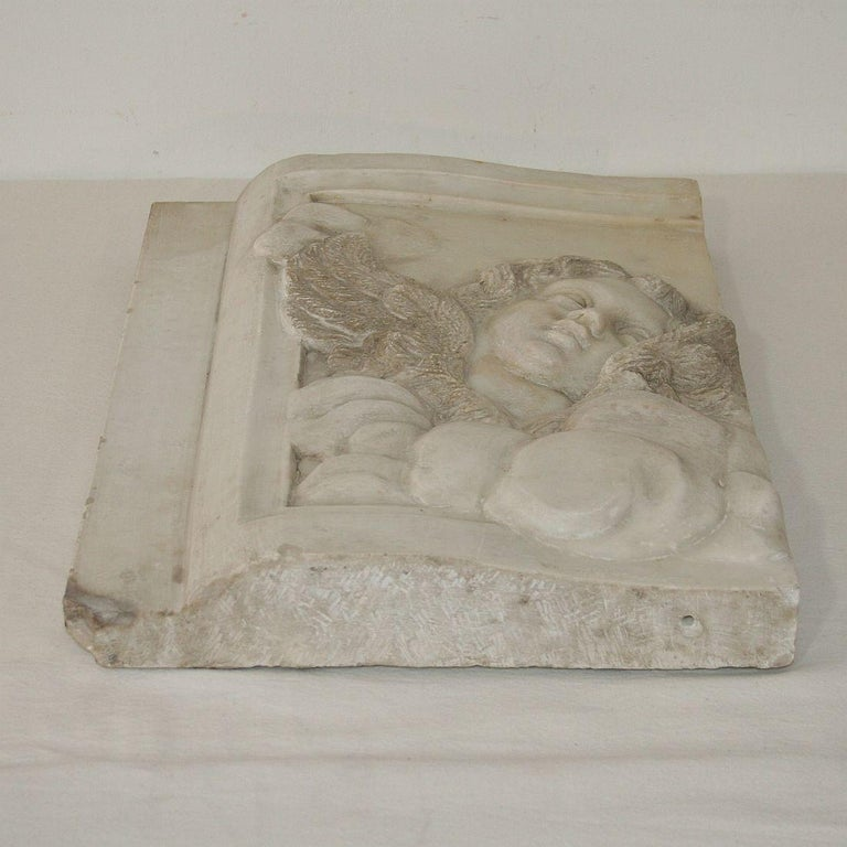 Couple of Italian 18th Century Baroque Marble Angel Panels For Sale 13