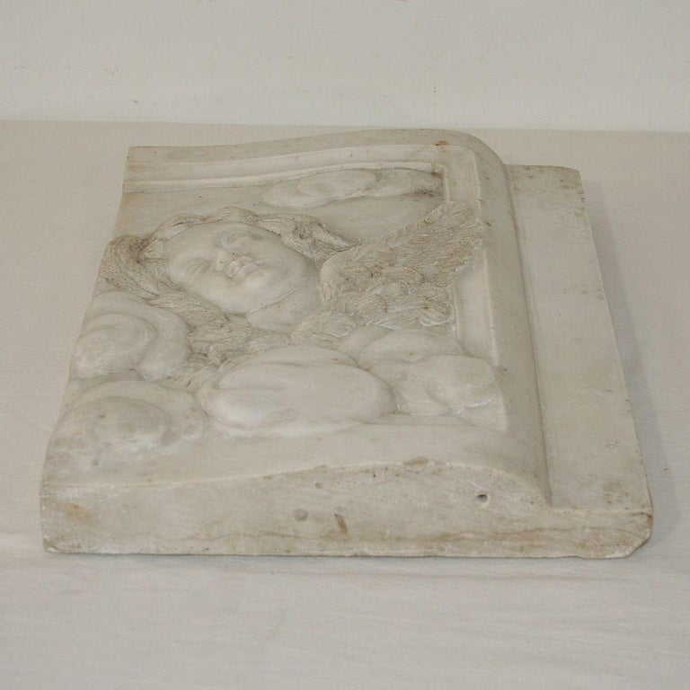 18th Century and Earlier Couple of Italian 18th Century Baroque Marble Angel Panels For Sale