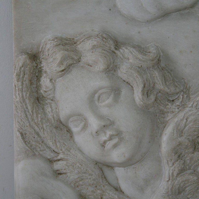 Couple of Italian 18th Century Baroque Marble Angel Panels For Sale 1
