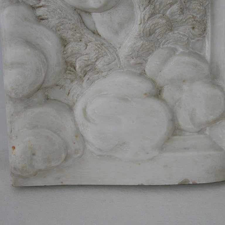Couple of Italian 18th Century Baroque Marble Angel Panels For Sale 3