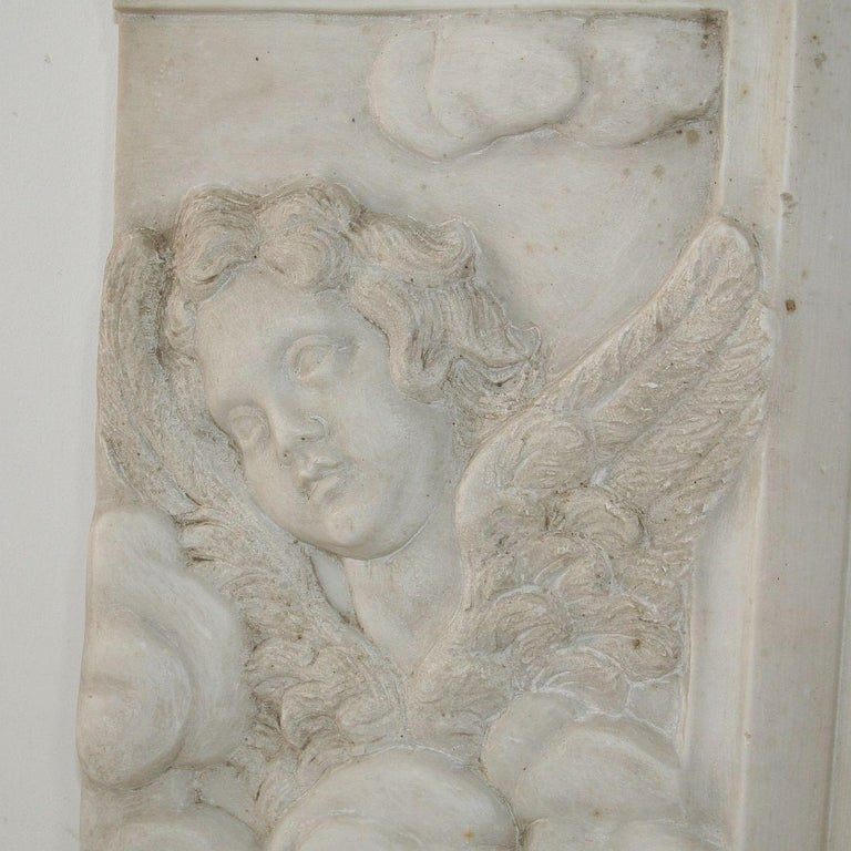 Couple of Italian 18th Century Baroque Marble Angel Panels For Sale 4