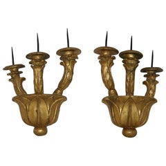 Couple of Italian 18th Century Giltwood Baroque Candleholders or Sconces