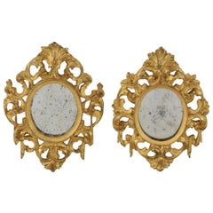 Couple of Italian 18th Century Giltwood Baroque Miniature Mirrors