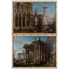 Couple of Italian Paintings Depicting Capricci, Francesco Aviani '1662-1715'