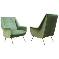 Couple of Italian Velvet Armchairs, 1950s