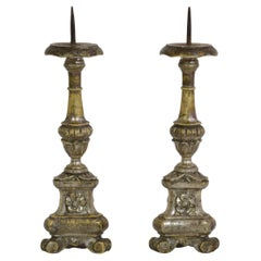 Couple of Late 18th Century Neoclassical Italian Silvered Candlesticks