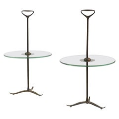 Couple of Midcentury Brass Side Tables by Cesare Lacca with Handles, Italy, 1950