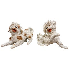 Couple of White Spanish Algora Porcelain Playing Dogs, Midcentury