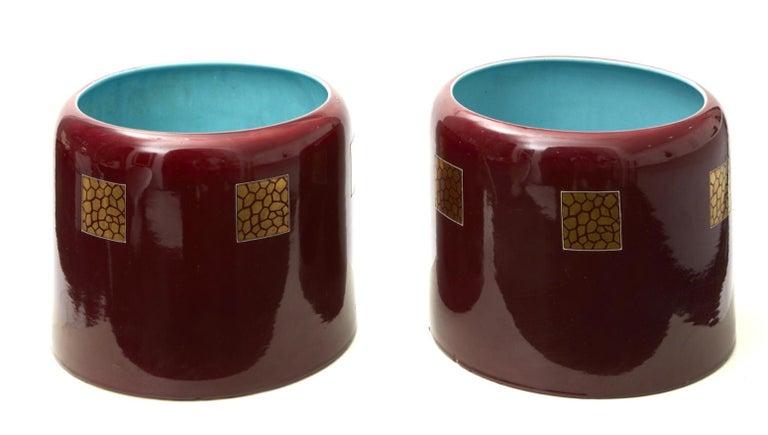 Italian Couple Porta Vasi Ceramic 1930 Italy  For Sale