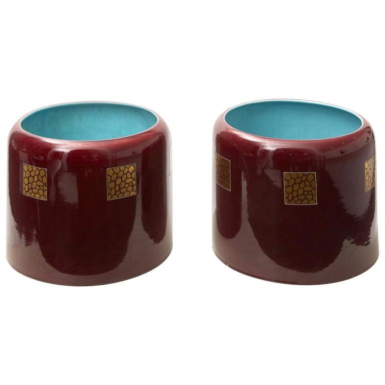 Couple Porta Vasi Ceramic 1930 Italy  For Sale
