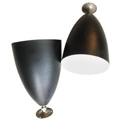 Couple Stilnovo Sconces 1950 Metal Black Cromo, 1950, Italy