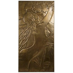 Couple Wall Decoration in Antique Brass