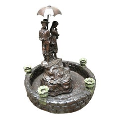 Couple With Umbrella, Bronze Fountain, 20th Century