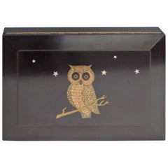 Couroc of Monterey Hinged Bakelite Dresser Top Accessory Box with Owl Inlay