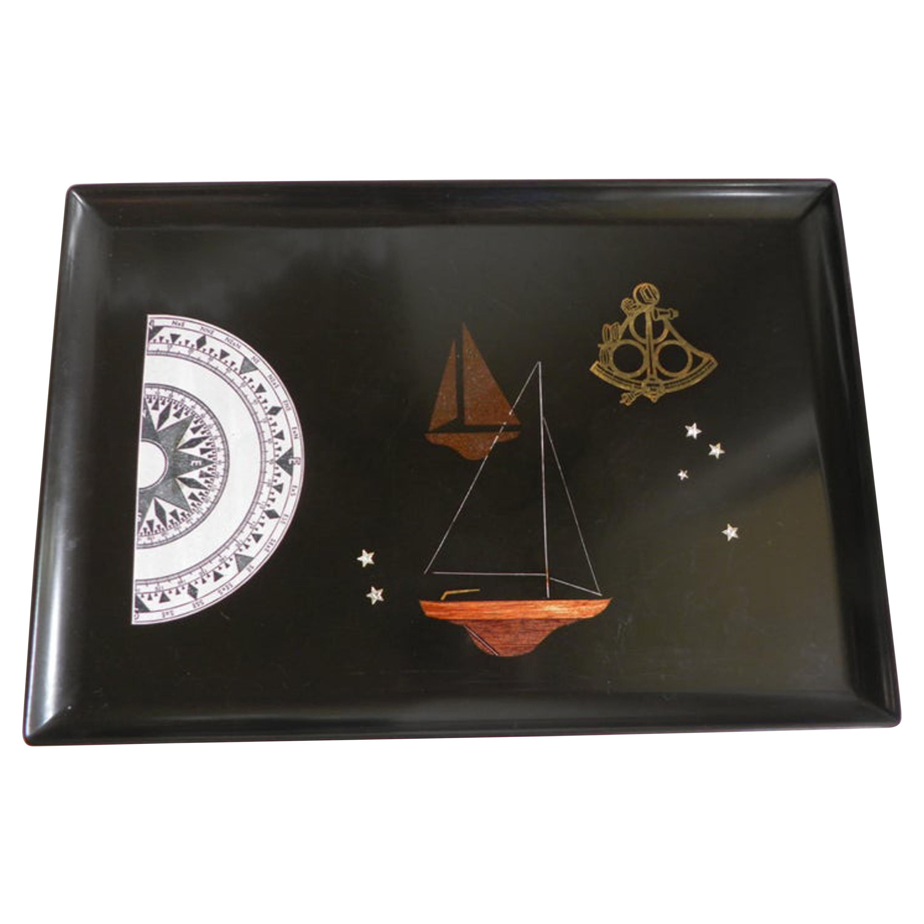 Couroc Resin Tray with Sailing Ships and Compass