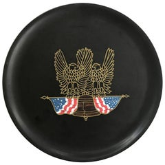 Couroc Tray with Eagles and American Flag, 1970s
