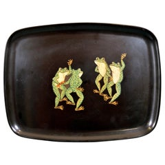 Couroc Tray with Frogs, Monterey, California 1970s