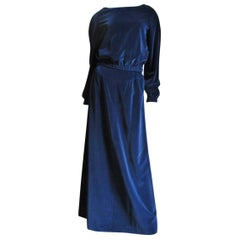 Courreges 1970s Hyperbole Velvet Maxi Skirt and Top