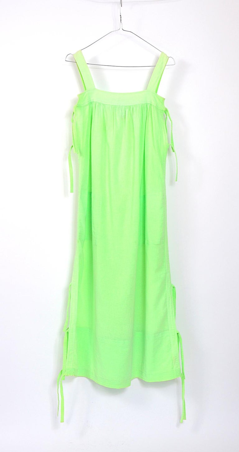 Courreges 1970s vintage lime green cotton long summer dress In Good Condition For Sale In Antwerp, BE