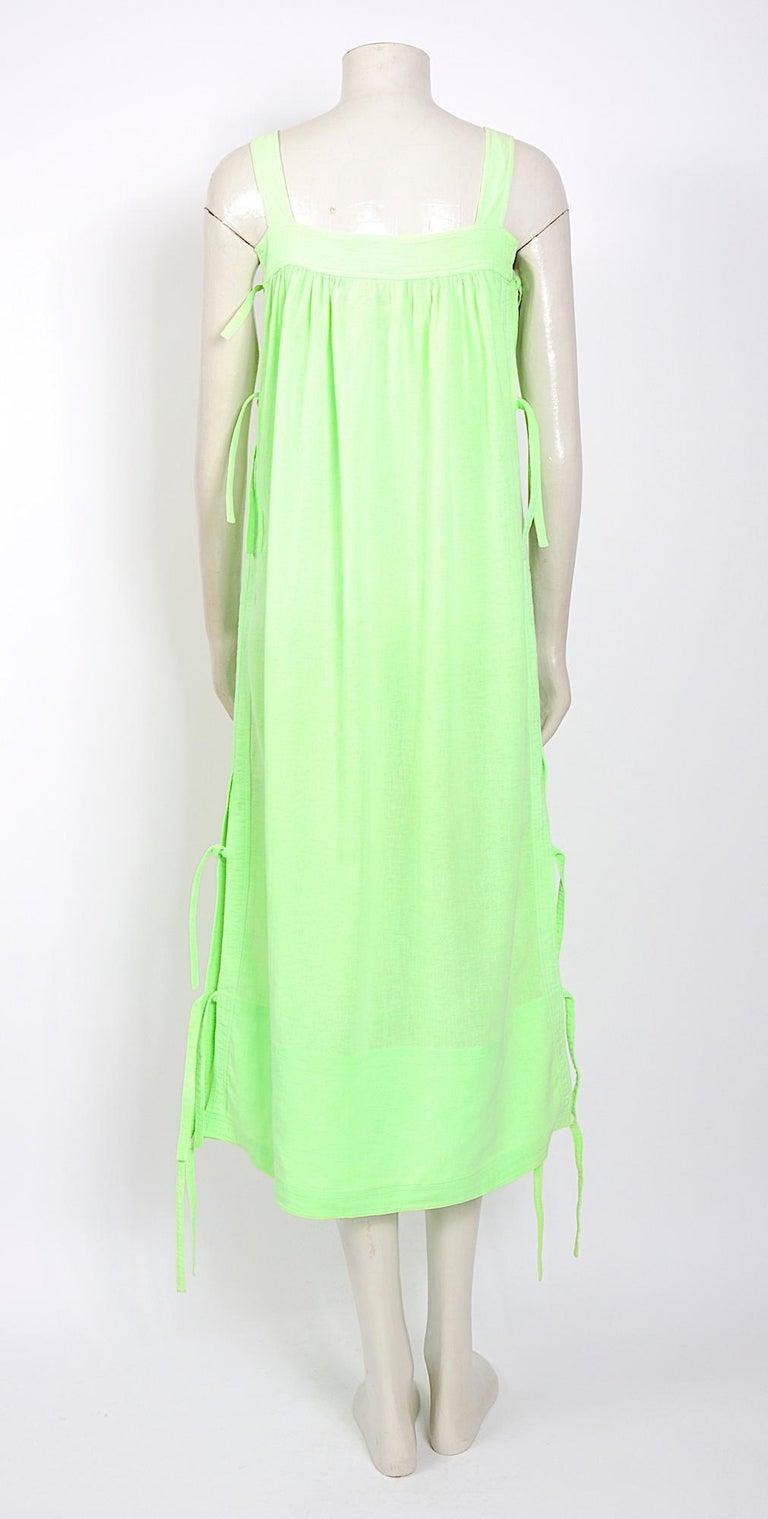 Women's Courreges 1970s vintage lime green cotton long summer dress For Sale