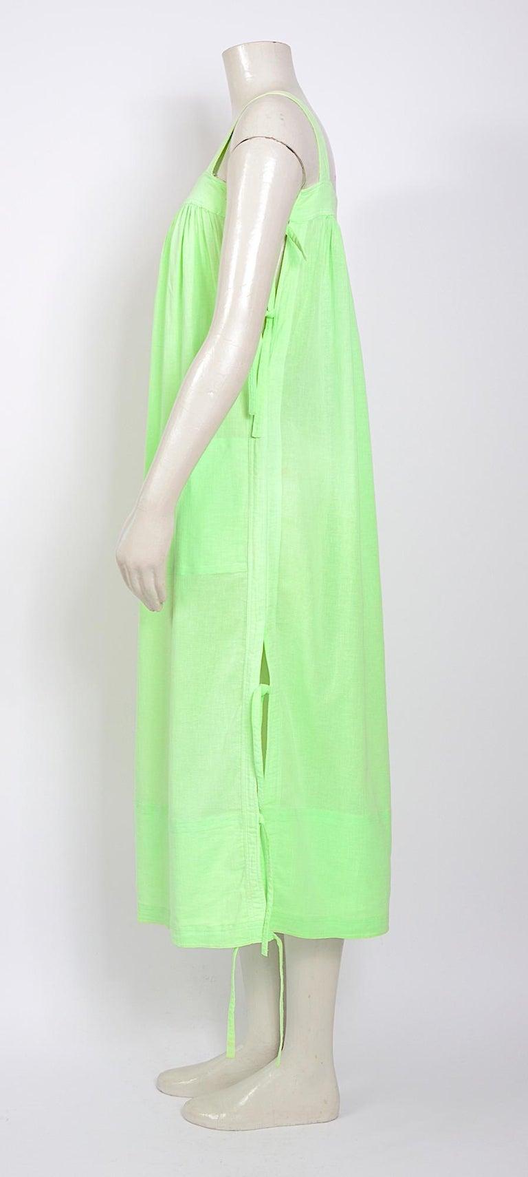 Courreges 1970s vintage lime green cotton long summer dress For Sale 1