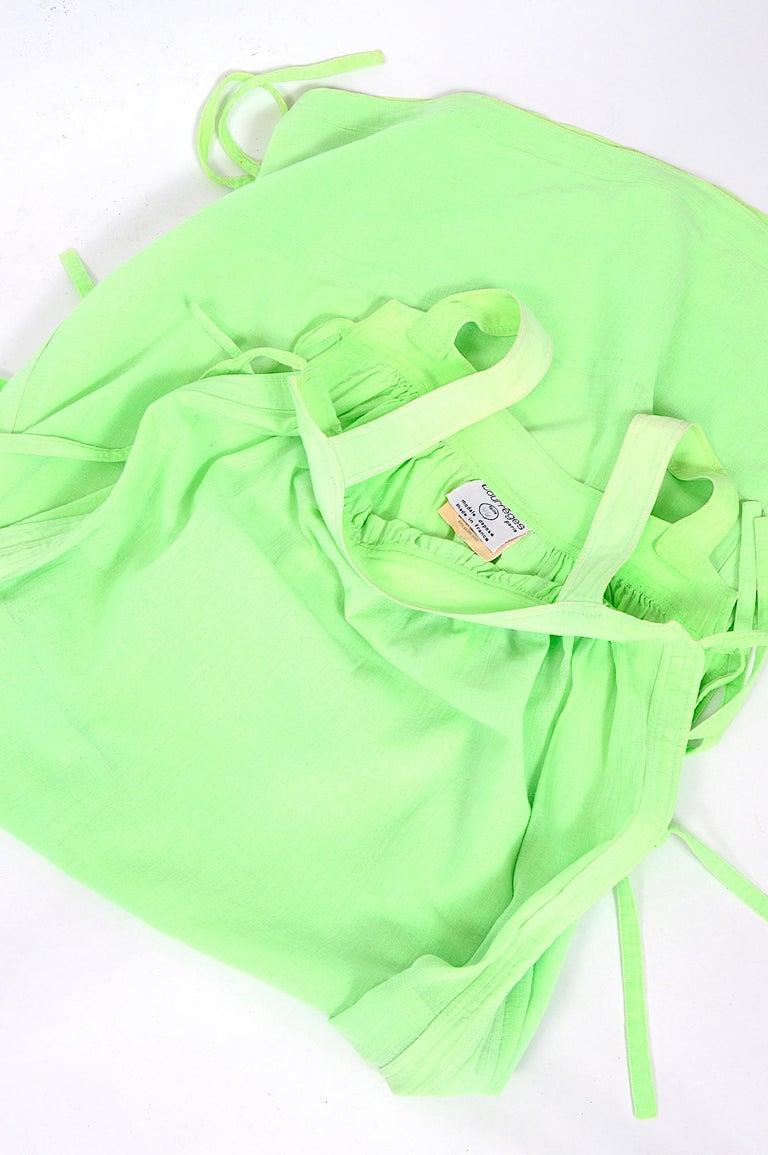 Courreges 1970s vintage lime green cotton long summer dress For Sale 2