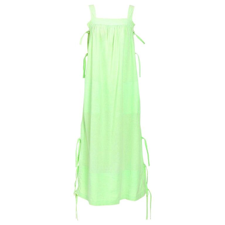 Courreges 1970s vintage lime green cotton long summer dress For Sale