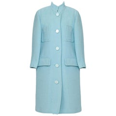Courreges Baby Blue Wool Coat France 1970s