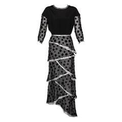 Courrèges Black Metallic Polka Dot Layered Maxi Dress, 1970s