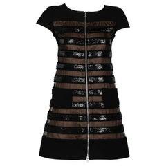 Courrèges Black Wool & Chiffon Sequin Zip Mod Mini Dress
