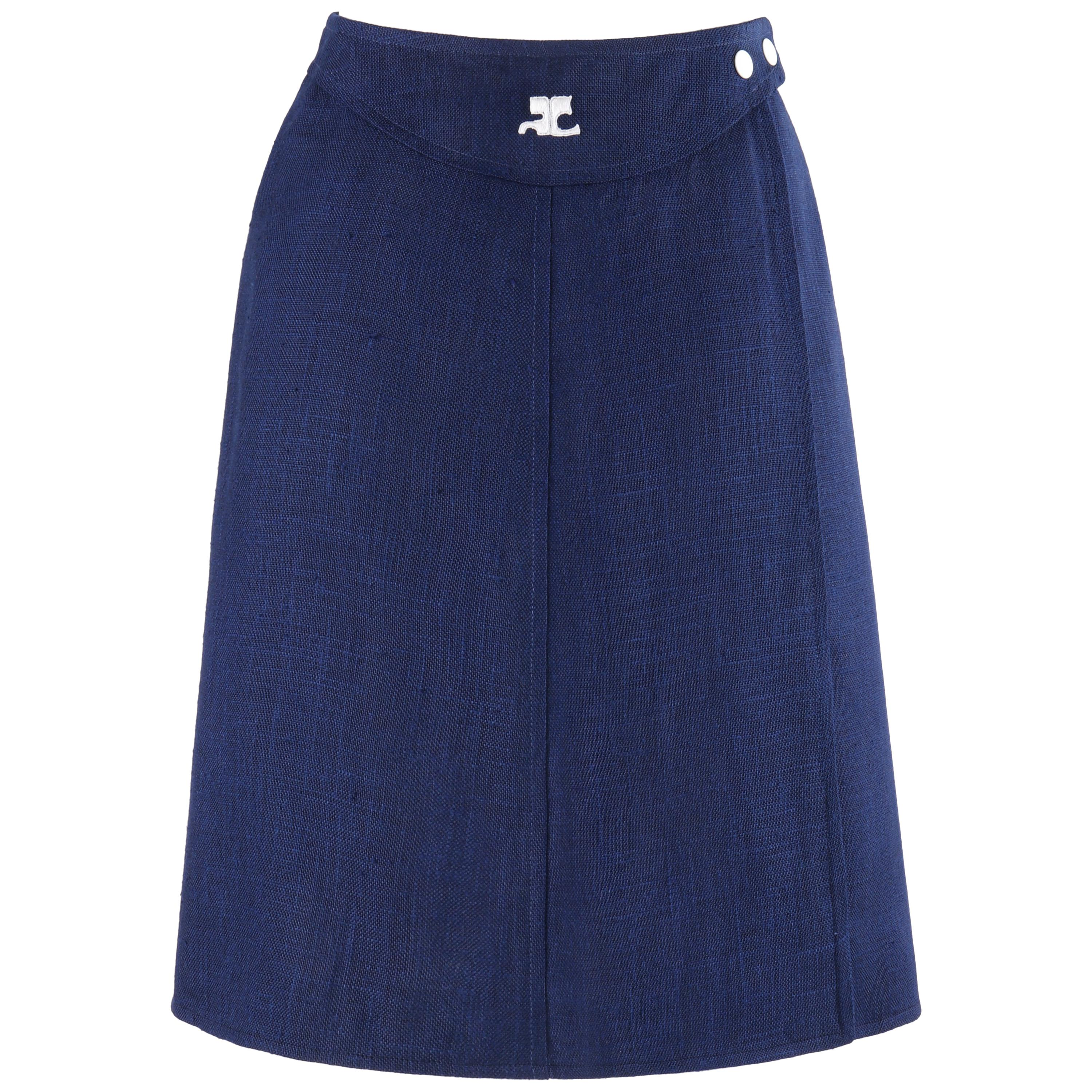 COURREGES c.1960's Navy Blue White Signature Logo Button Wrap Skirt Numbered
