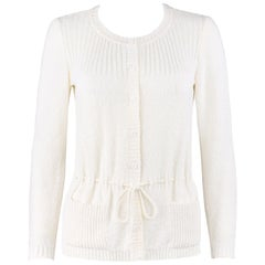 COURREGES c.1970-1980's Ivory Slub Knit Button-Up Long Sleeve Cardigan Sweater