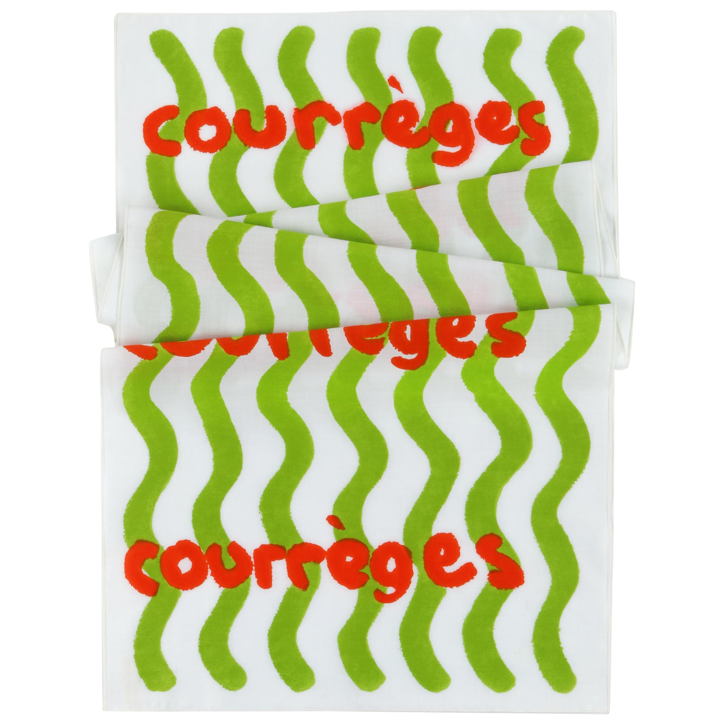 COURREGES c.1970's Abstract Wavy Striped Wrap Scarf