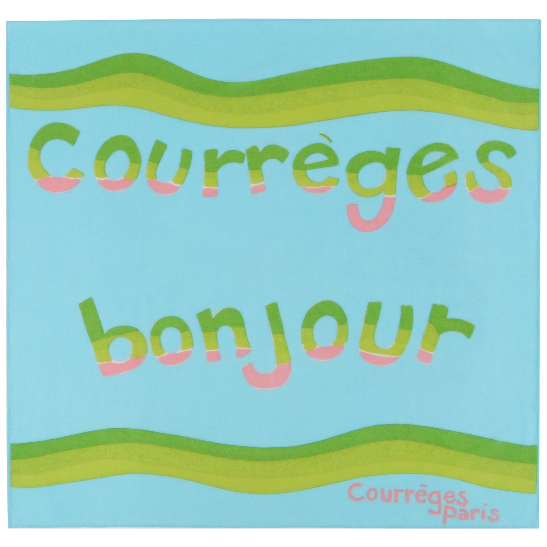 """COURREGES c.1970's """"Courreges Bonjour"""" Paris Square Scarf"""