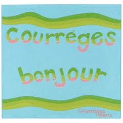 "COURREGES c.1970's Andrianna Shamaris ""Courreges Bonjour"" Paris Square Scarf"