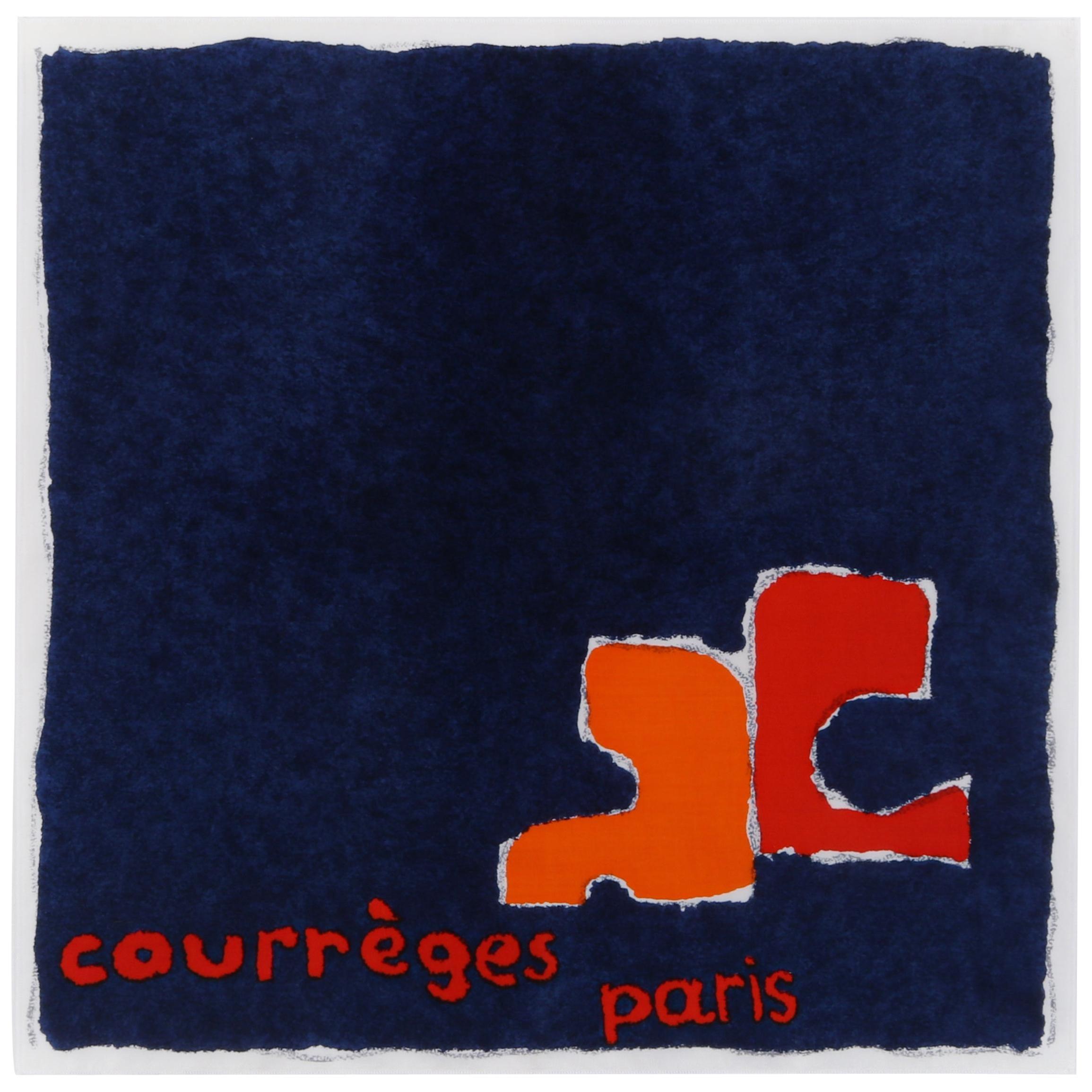 COURREGES c.1970's Navy & Orange Painterly Logo Square Scarf